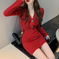 Dress Spring 2021 Red suit, like collection store free freight insurance S,M,L Short skirt singleton  Long sleeves commute V-neck High waist Solid color Socket One pace skirt routine Korean version Button knitting
