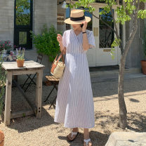 Dress Summer 2021 Beige stripe S M L XL Mid length dress singleton  Short sleeve commute V-neck High waist stripe Socket A-line skirt routine Others 25-29 years old Type A Gu Feina Retro Lace up LYQ21-04004 51% (inclusive) - 70% (inclusive) brocade cotton Cotton 70% polyester 30%