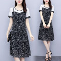 Women's large Summer 2021 Picture color L recommendation 95-110 XL recommendation 110-130 2XL recommendation 130-145 3XL recommendation 145-160 4XL recommendation 160-180 5XL recommendation 180-200 Dress Fake two pieces commute easy thin Socket Short sleeve Abstract pattern Korean version Crew neck