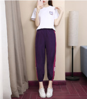 Women's large Summer 2021 Sports suit Large L Large XL Large XXL large XXL large XXL large XXXL Other oversize styles Two piece set commute easy moderate Socket Short sleeve Korean version Crew neck routine cotton routine chun331 Chiu Yibin Other 100% Pure e-commerce (online only) Ninth pants