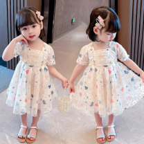 Dress Summer 2021 Picture color 80CM,90CM,100CM,110CM,120CM,130CM Mid length dress singleton  Short sleeve commute Crew neck middle-waisted Decor Socket Princess Dress routine Others Under 17 Type A Other / other Korean version 81% (inclusive) - 90% (inclusive) Lace cotton