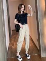 Women's large Summer 2020 Black T-shirt + Khaki Pants Black T-Shirt + army green pants S suggestion (80-95 kg) m suggestion (95-105 kg) l suggestion (105-120 kg) XL suggestion (120-135 kg) 2XL suggestion (135-150 kg) 3XL suggestion (150-170 kg) Two piece set commute thin Socket Short sleeve Crew neck