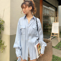 shirt Ice crystal blue S,M,L Spring 2021 cotton 51% (inclusive) - 70% (inclusive) Long sleeves Original design Regular V-neck routine Solid color