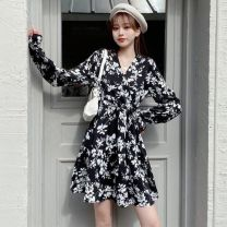 Dress Spring 2021 White, black Mid length dress singleton  Long sleeves Sweet Broken flowers other routine Others 25-29 years old 30% and below other other