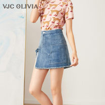 Jeans Summer of 2019 Blue S M L shorts Natural waist Straight pants routine 25-29 years old light colour VJC OLIVIA 96% and above Cotton 99% other 1% Same model in shopping mall (sold online and offline)