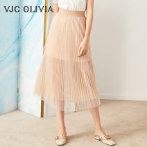 skirt Summer of 2019 XS S M Apricot Mid length dress High waist 25-29 years old V9AS1030 More than 95% VJC OLIVIA polyester fiber Polyester 100%