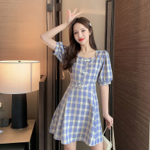 Women's large Summer 2021 Picture color S M L XL Dress singleton  commute Socket Short sleeve lattice Korean version square neck puff sleeve Hua Sijing Short skirt Other 100% Pure e-commerce (online only)