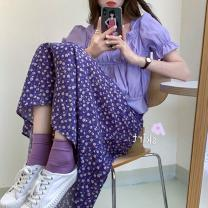 skirt Summer 2020 S M L violet longuette commute High waist A-line skirt Broken flowers Type A 18-24 years old XTG1298 More than 95% Xiangteng Pavilion other Tie dye printing Korean version Other 100% Exclusive payment of tmall
