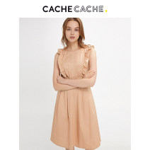 Dress Spring of 2019 Nomadic Brown / 839 160/84A/S 165/88A/M 170/92A/L 175/96A/XL Mid length dress singleton  Sleeveless commute middle-waisted Solid color Socket routine camisole 18-24 years old Cache Cache lady More than 95% cotton Cotton 97.1% polyamide 2.9%