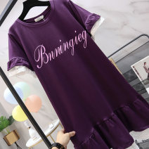 Women's large Summer of 2019 Black Purple Large XL recommendation 120-140 kg large 2XL recommendation 145-170 kg large 3XL recommendation 170-195 kg large 4XL recommendation 200-230 kg large 5XL recommendation 230-300 kg Dress singleton  commute easy moderate Socket Short sleeve Solid letters cotton