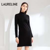 Dress Winter of 2019 C53 mustard green C99 black S M L XL Mid length dress Long sleeves commute Half high collar High waist Socket Pencil skirt routine 30-34 years old Laureline / laureline Simplicity 30% and below polyester fiber Viscose (viscose) 53.8% polyester 27.9% polyamide (nylon) 18.3%