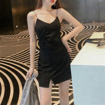 Dress Summer 2021 Split skirt XS S M L XL 2XL 3XL 4XL Short skirt singleton  Sleeveless commute V-neck High waist Solid color Socket A-line skirt routine camisole 18-24 years old Type A Embellishment Korean version backless More than 95% brocade other Other 100%