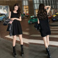 Dress Spring 2021 black S M L XL XXL XXXL longuette singleton  Sleeveless commute Crew neck Loose waist Solid color Socket A-line skirt routine 18-24 years old Type A Embellishment Korean version Splicing More than 95% other Other 100% Same model in shopping mall (sold online and offline)