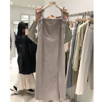 Dress Summer 2021 Black, coffee, light coffee S,M,L,XL Mid length dress singleton  Sleeveless commute High waist Solid color A-line skirt 18-24 years old Type A Korean version Resin fixation DG5247 31% (inclusive) - 50% (inclusive) other other