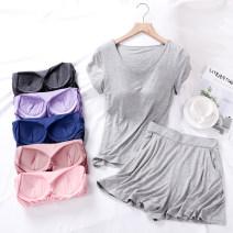 Pajamas / housewear set female Poetic beauty M + m (less than 85 kg) l + m (about 85-95 kg) l + L (about 85-100 kg) XL + L (about 95-105 kg) XL + XL (about 95-110 kg) XXL + XL (about 102-120 kg) 4XL + XL (about 120-140 kg) top + trouser skirt, you can match freely viscose  Short sleeve Simplicity