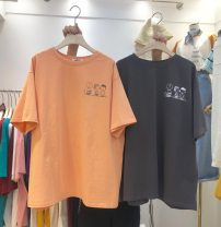 Women's large Spring 2020 Orange white dark grey M L XL T-shirt singleton  commute easy moderate Socket Short sleeve letter Korean version Crew neck routine cotton printing and dyeing routine Sofitel 18-24 years old tie-dyed 30% and below Pure e-commerce (online only)