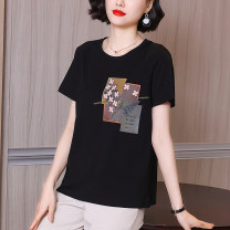 T-shirt black M L XL 2XL 3XL 4XL Summer 2021 Short sleeve Crew neck easy Regular routine commute cotton 86% (inclusive) -95% (inclusive) 30-39 years old Korean version literature Plants and flowers Gossan GS21281 Three dimensional decorative embroidery with printing and stitching