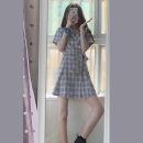 Dress Summer 2020 Picture color S M L XL 2XL Mid length dress singleton  Short sleeve commute tailored collar High waist lattice Single breasted A-line skirt routine Others 18-24 years old Type A Yan Xiangfei Retro Lace up stitching button JM2111 More than 95% other other Other 100%