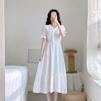 Dress Summer 2020 White Short Sleeve White Long Sleeve S M L XL longuette singleton  Short sleeve commute V-neck High waist Solid color Socket A-line skirt routine Others 18-24 years old Type A Yan Xiangfei Retro Button More than 95% other polyester fiber Polyester 100% Pure e-commerce (online only)