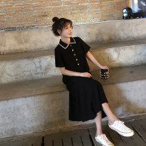 Dress Summer 2020 black S M L XL Mid length dress singleton  Short sleeve commute Polo collar High waist Solid color Socket A-line skirt routine Others 18-24 years old Type A Yan Xiangfei Retro 71% (inclusive) - 80% (inclusive) polyester fiber Polyester 80% other 20% Pure e-commerce (online only)