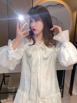 Dress Spring 2020 white S M L XL Middle-skirt singleton  Long sleeves Sweet stand collar High waist Solid color Socket A-line skirt pagoda sleeve Hanging neck style 18-24 years old Type A Yan Xiangfei More than 95% Chiffon other Triacetate fiber (triacetate fiber) 100% college