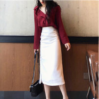 Dress Autumn 2020 S M L XL Mid length dress Two piece set Long sleeves commute V-neck High waist Solid color Socket One pace skirt Sleeve Others 18-24 years old Type A Yan Xiangfei Korean version Bowknot stitching More than 95% other polyester fiber Polyester 100% Pure e-commerce (online only)