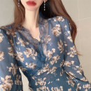 Dress Autumn 2020 Red Maple Leaf Flower Blue Maple Leaf Flower S M L XL longuette singleton  Long sleeves commute V-neck Decor other routine 18-24 years old Yan Xiangfei lady zf0150635011665 More than 95% polyester fiber Polyester 100% Pure e-commerce (online only)
