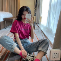 Lace / Chiffon Summer 2021 pitaya S M L XL Short sleeve Versatile Socket singleton  easy Regular Crew neck other routine 18-24 years old Jingmeiya Other 100% Pure e-commerce (online only)