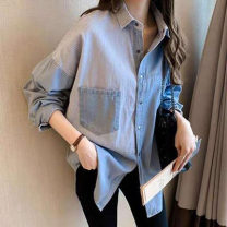 shirt Dark blue, light blue S,M,L,XL,2XL,3XL,4XL Autumn of 2019 other 96% and above Long sleeves commute Medium length Polo collar Single row multi button routine stripe 18-24 years old Other / other Korean version Button, pocket