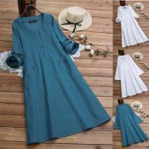 Dress Summer of 2019 Blue, white M,L,XL,2XL,3XL,4XL,5XL