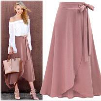 skirt Summer of 2018 M,L,XL,2XL,3XL,4XL,5XL,6XL Army green, pink, black longuette Versatile High waist Irregular Solid color Type H 5076# knitting Other / other
