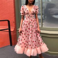 Dress Summer 2020 Pink (Sequin) S,M,L,XL Mid length dress singleton  Short sleeve street V-neck High waist A-line skirt puff sleeve 25-29 years old Type X 31% (inclusive) - 50% (inclusive) polyester fiber Europe and America
