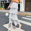 skirt Autumn 2020 Average size White dots, black dots longuette commute High waist Cake skirt Dot Type A 18-24 years old YS88325 Chiffon polyester fiber Ruffles, ruffles, folds Korean version 201g / m ^ 2 (including) - 250G / m ^ 2 (including)