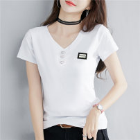 T-shirt Black white yellow M L XL 2XL 3XL Summer 2021 Short sleeve V-neck Self cultivation Regular routine commute cotton 86% (inclusive) -95% (inclusive) 25-29 years old Korean version originality Solid color Beautiful scenery HM2449 Splicing Cotton 95% polyurethane elastic fiber (spandex) 5%