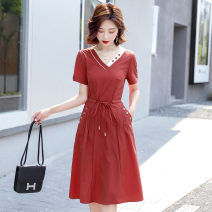 Dress Summer 2020 Rust red Navy M L XL XXL Mid length dress singleton  Short sleeve commute V-neck middle-waisted Solid color Socket A-line skirt routine Others 25-29 years old Type A Xiangling Korean version Pocket tie XMYR 8056 More than 95% other other Other 100% Pure e-commerce (online only)