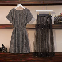 Women's large Summer of 2019 Black Silver XL [recommended 95-125 kg] 2XL [recommended 125-145 kg] 3XL [recommended 145-165 kg] 4XL [recommended 165-180 kg] 5XL [recommended 180-200 kg] Dress Two piece set commute easy thin Socket Short sleeve Solid color Korean version Crew neck routine other W145