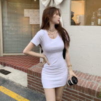 Women's large Spring 2021 White black S M L commute Self cultivation Short sleeve Solid color Korean version Crew neck Three dimensional cutting routine 1y1284 Yan Pei 18-24 years old Short skirt Other 100% Pure e-commerce (online only) Pencil skirt
