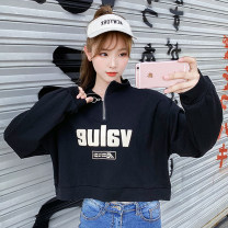 Sweater / sweater Autumn of 2019 White black yellow M L XL XXL Long sleeves have cash less than that is registered in the accounts Socket singleton  routine stand collar easy commute routine letter 18-24 years old 51% (inclusive) - 70% (inclusive) Zhaorou Korean version polyester fiber Printed zipper