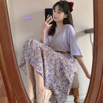 skirt Summer 2020 S M L XL Orange purple Mid length dress commute Natural waist A-line skirt Broken flowers Type A 18-24 years old 55sq 060 More than 95% Zhaorou polyester fiber Pleated printing Korean version Polyester 100% Pure e-commerce (online only)