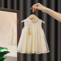 Dress Beige Pink female Morning talk Other 100% summer Chinese style Skirt / vest Solid color other A-line skirt CLY10 Class A Summer 2020 12 months 9 months 18 months 2 years 3 years 4 years 5 years 6 years old