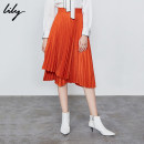 skirt Autumn of 2019 150/58A/XS 155/62A/S 160/66A/M 165/70A/L 170/74A/XL 915 orange 121 deep pink 917 persimmon orange 305 grass green Mid length dress commute High waist Pleated skirt Solid color Type A 25-29 years old 119339C6922 More than 95% other Lily / Lily polyester fiber Asymmetry Ol style