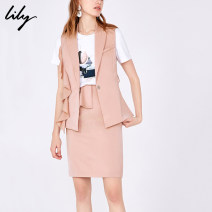 Vest Summer of 2019 121 deep pink XS S M L XL routine tailored collar commute stripe Frenulum 119249C0901 I-shaped 25-29 years old Lily / Lily 81% (inclusive) - 90% (inclusive) polyester fiber Lace up Polyester 89% polyurethane elastic fiber (spandex) 10% viscose fiber (viscose) 1%