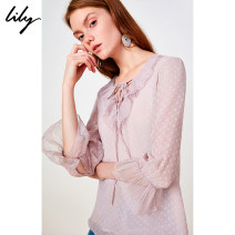 shirt 127 xianfendai XS S M L XL Summer of 2019 polyester fiber 96% and above Short sleeve commute Regular Lotus leaf collar Socket pagoda sleeve Dot 25-29 years old Straight cylinder Lily / Lily Ol style 119249C8913 Cut out lace with ruffles Polyester 100%