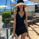 one piece  mimibabi S,M,L,XL black Skirt one piece With chest pad without steel support Nylon, spandex, polyester, others female Sleeveless Casual swimsuit Solid color