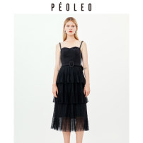 Dress Summer 2020 black 34/XS/155 36/S/160 38/M/165 40/L/170 42/XL/175 Mid length dress singleton  Sleeveless middle-waisted Solid color Socket Cake skirt other 25-29 years old Type A Peoleo / piaoyei Gauze lace PQ1112053 81% (inclusive) - 90% (inclusive) other nylon