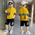 suit Magic Captain Off white yellow 110cm 120cm 130cm 140cm 150cm 160cm 170cm male summer leisure time Short sleeve + pants 2 pieces routine There are models in the real shooting Socket nothing letter other children Expression of love CJXQR-TYY2071-2 other Other 100% Summer 2021 Chinese Mainland