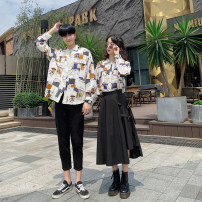 shirt S M L XL XXL XXXL Autumn 2020 polyester fiber 96% and above Long sleeves commute Regular square neck Single row multi button routine Hand painted 18-24 years old All gifts Korean version B5051 Pocket button Polyester 100% Pure e-commerce (online only)