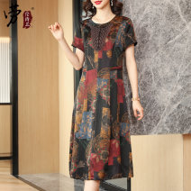 Dress Summer 2021 L XL XXL 3XL 4XL Mid length dress singleton  Short sleeve commute Crew neck middle-waisted Decor Socket A-line skirt routine Others 35-39 years old Type A Laurence Cymbidium Retro printing More than 95% Silk and satin silk Mulberry silk 100%