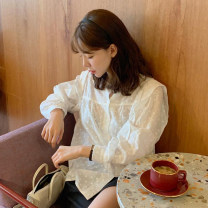 shirt ivory Average size Spring 2021 cotton 96% and above Long sleeves commute Regular Crew neck Single row multi button Solid color Straight cylinder lady