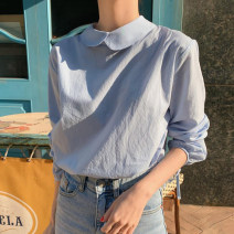 shirt Milky white, sky blue Average size Autumn 2020 cotton 96% and above Long sleeves Sweet Regular Doll Collar Socket routine Solid color Straight cylinder solar system